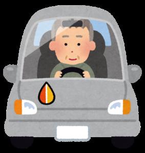 高齢者マークを付けて運転する人のイラスト